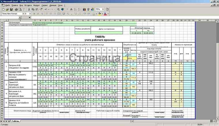 табель учета рабочего времени форма 0504421 бланк скачать в Excel - фото 10