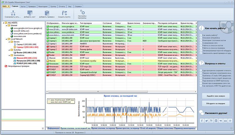 Скриншот программы (версии софта) 10-Страйк Мониторинг Сети 5.5 для образовательных учреждений #1