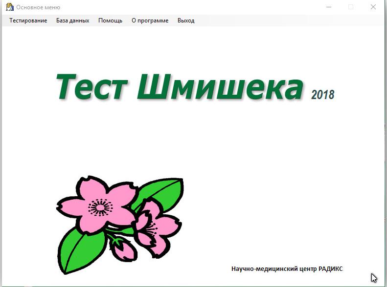Скриншот программы (версии софта) Тест Шмишека 2018 #6