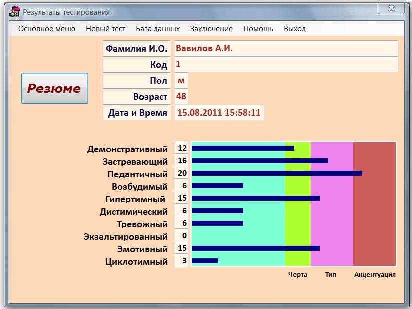 Скриншот программы (версии софта) Тест Шмишека 2018 #2